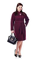 Пальто женское демисезонное из кашемира с фигурными защипами и поясом. В разных цветах