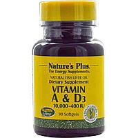Nature's Plus, Витамин А и D3, 10,000-400 IU 90 гелевых капсул