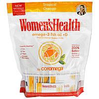 Coromega, Женское здоровье, рыбий жир с Омега-3 + D, тропический апельсин, 120 выдавливающихся порций по 2,5 г