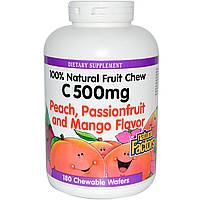 Natural Factors, Витамин С 500 мг со вкусом персика, маракуйи и манго, 180 жевательных таблеток