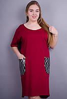 Ибица. Женское платье больших размеров. Бордо. 50