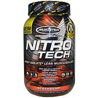 Muscletech, Nitro-Tech, производительная серия, сывороточный изолят для наращивания сухой мышечной массы, клубничный, 2 фунта (907 г)