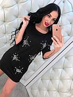Стильное платье женское из котона с камнями
