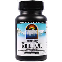 Source Naturals, Arctic Pure, крилевый жир, 500 мг, 60 желатиновых капсул