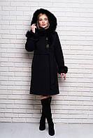 Зимнее пальто с мехом песца на ватине (3 цвета)