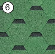 Битумная черепица Roofshield Classic Стандарт 6 зеленая с оттенением