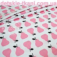 Ткань хлопковая с розовыми грушами (№ 691а).