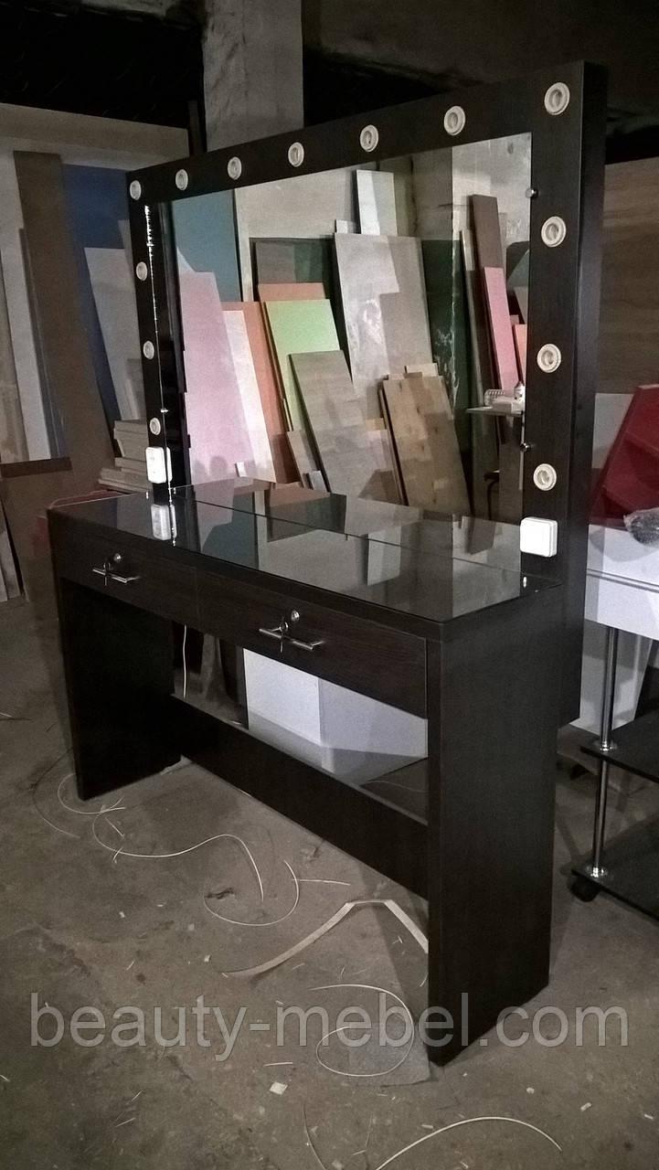 Стол для визажиста с зеркалом, гримерный столик с лампами