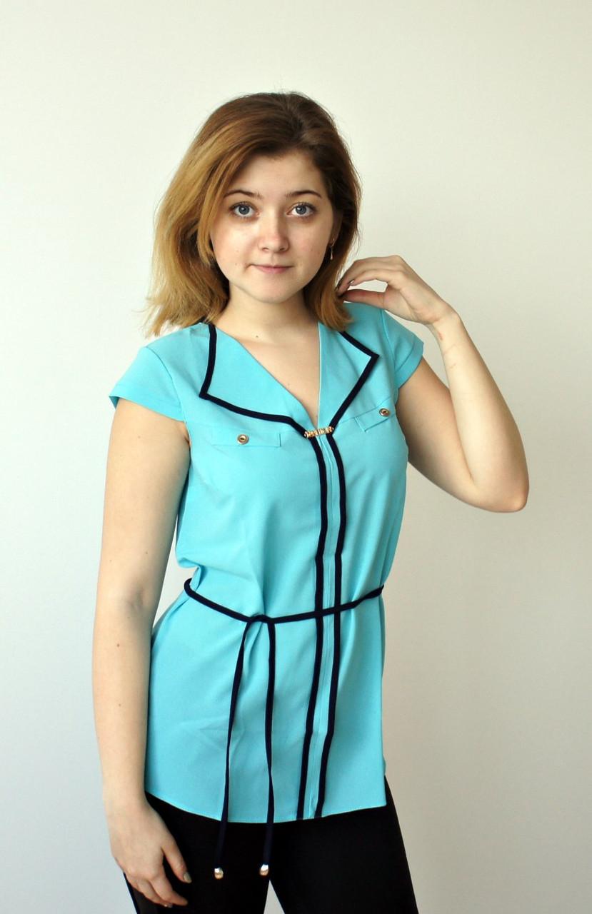 Легкая блуза из шифона голубого цвета