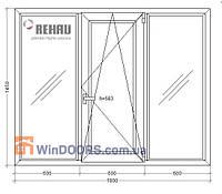Окно металлопластиковое, энергосберегающее Rehau Euro-70, 16-ти этажка 1800х1450 мм