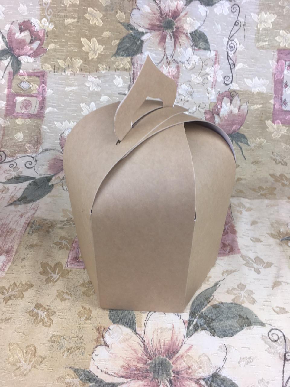 Упаковка для пасхи / 165х165х200 мм / Коробка для кулича / Больш / Крафт / Пасха