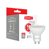 Светодиодная лампа LED Maxus MR16 5W теплый свет GU10 1-LED-517