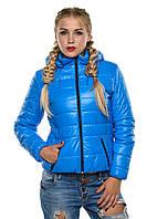 Стеганая демисезонная женская куртка с КАПЮШОНОМ (р-ры 42-54), разные цвета