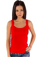 Бесшовная майка женская на бретельках красная трикотажная (безшовна) хб женская без рисунка хлопковая летняя 50