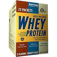 Jarrow Formulas, 100% натуральный сывороточный белок, ассорти из 3 вкусов, 12 пакетов