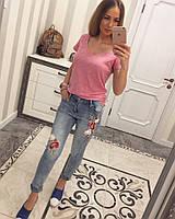 Женские джинсы с вышивкой и бусинами