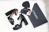 Кожаные черные босоножки на каблуке, 36-40 р-р
