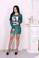 Платье женское зеленое с рисунком