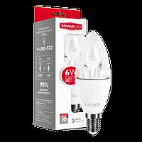 Светодиодная лампа LED Maxus C37 6W яркий свет E14 1-LED-532