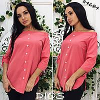 Блузка-рубашка приспущенная на плечах  ор1-86