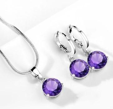 """Комплект украшений с фианитами  """"Трио Violet"""" - цепочка, подвеска, серьги"""