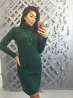 Теплое ангоровое платье с карманами