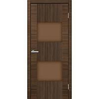 """Двери межкомнатные Cortex """"Model 03 ПО стело черное, бронза"""" Дуб Amber Line, 600, ПВХ, массив сосновых пород, Раздвижная"""