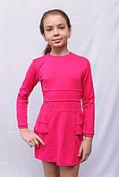 Красивое детское платье для девочки с рюшами розового цвета