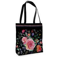 Большая черная сумка Нежность с принтом Розы розовые