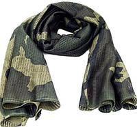 Маскировочный шарф из сетки 160 х 40 см, Woodland Camo.