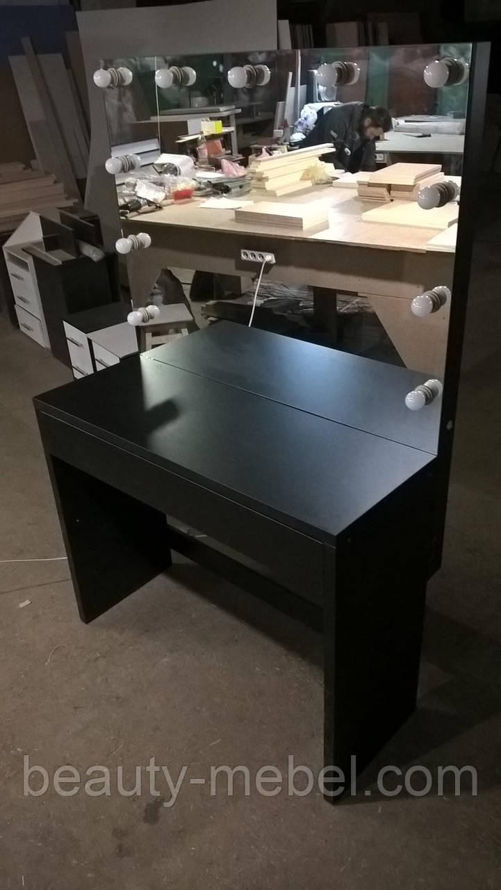 Стол для визажиста с подсветкой, большое зеркало без рамы