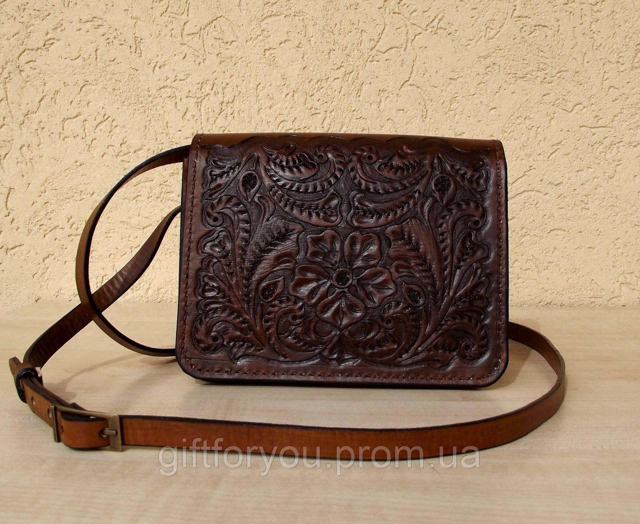Кожаная маленькая женская сумочка 556299b79ce3e