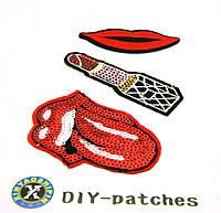 553 Термо наклейки, аппликации с вышивками для одежды. Вышивка с паетками (клетка 1 см)
