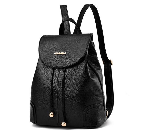 Рюкзак женский кожзам городской в стиле Miamin на шнурке Черный