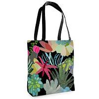 Большая черная сумка Нежность с принтом Красочные цветы