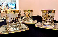 "Набор чайных пар ""Версаче Богемия фон"" (чашка 270 мл + блюдце) на 6 персон"
