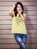Стильная женская футболка с прорезями на спинке цвет желтый p.42-50 VM1920-4
