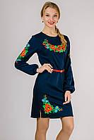 Платье вышиванка женская с длинным рукавом темное синее трикотажное (Украина)