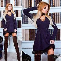 Платье с чокером и гипюром, темно-синее, синее, темное