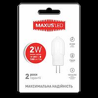 Светодиодная лампа LED Maxus G4 2W теплый свет 12V 1-LED-207