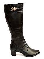 Женские классические кожаные сапоги на невысоком каблуке, демисезонные, фото 1
