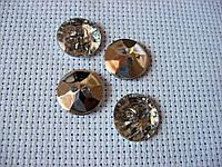 Пуговица стразовая, блестящая. круг, 12 мм