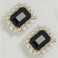 Сережки золотистые с крупными кристаллами
