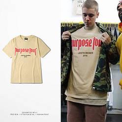 Мужская Футболка Bieber Бежевая Purpose tour