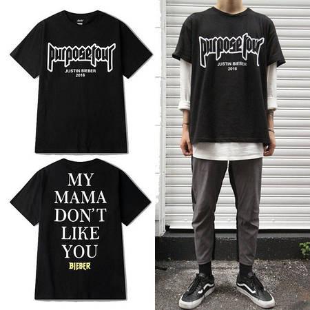 Мужская Футболка Bieber Black| Черная Purpose tour mama don't like you