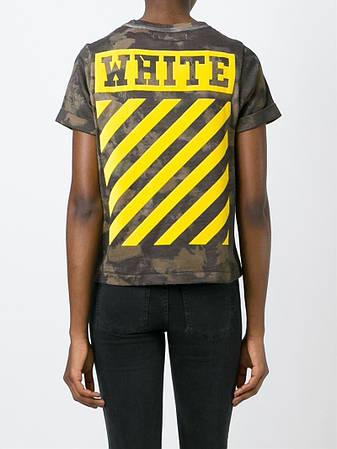 Мужская Футболка White Camo  Камо желтый лого