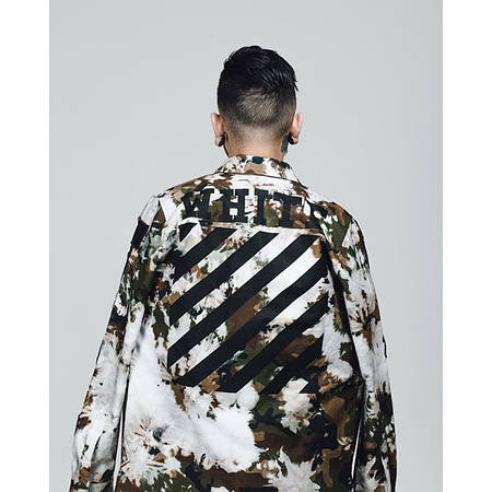 Мужская Ветровка White Camo White черная на спине