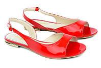 Кожаные женские босоножки цвет красный