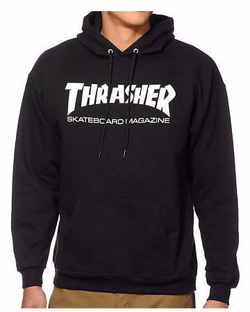 Мужская Кофта Худи Thrasher Black|Черный new logo