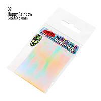 Фольга для дизайна с эффектом «Битое стекло» PNB 02 Веселая радуга – прозрачный, радужный